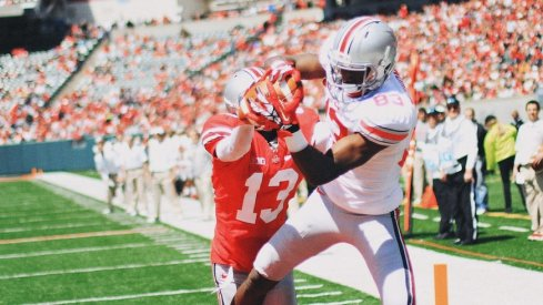 Michael Thomas catches a touchdown in the 2013 Ohio State spring game.