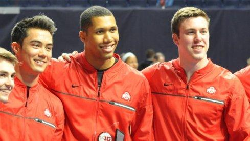 Jake Dastrup, Sean Melton, Jake Martin, Seth Delbridge, Alec Yoder. Ohio State Men's Gymnastics.