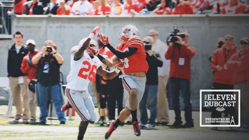 Ohio State players fight for the ball in the 2013 spring game.