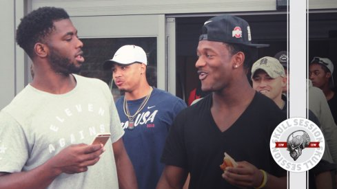 J.T. Barrett and K.J. Hill (and Marshon Lattimore) share a laugh about the April 14th 2017 Skull Session