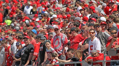 Ohio State fans get some sun at the 2016 spring game.