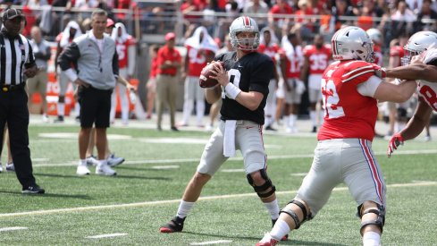 A 2017 Ohio State Spring Game passing chart from all four quarterbacks.