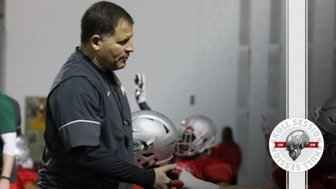 Greg Schiano shakes a walk-ons hand for the April 24 2017 Skull Session