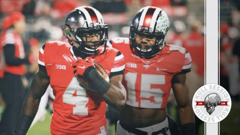 Curtis Samuel and Ezekiel Elliott watch the April 29 2017 Skull Session