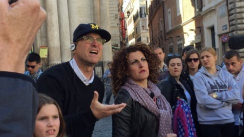Jim Harbaugh in Rome, LOL