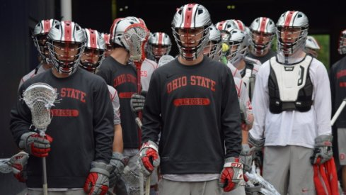 Ohio State men's lacrosse warming up for the NCAA Championship game against Maryland.
