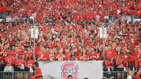"""Block """"O"""" is the official student section of the Ohio State University."""