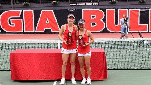 Francesca Di Lorenzo and Miho Kowase after winning the 2017 NCAA Women's Doubles championship.