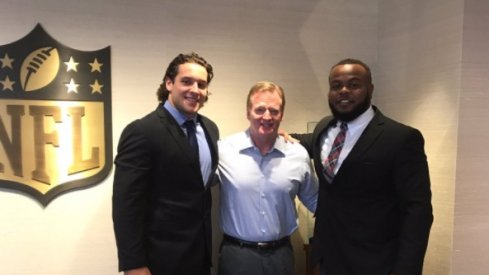 Nick Bosa, Roger Goodell, and Tracy Sprinkle