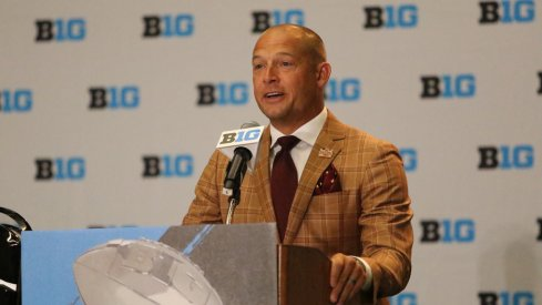 New Minnesota coach P.J. Fleck speaks to the media.
