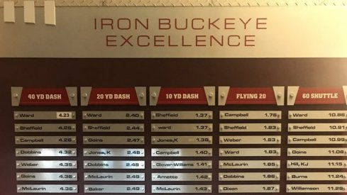 The Ohio State football Iron Buckeye Excellence board