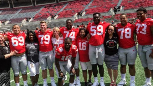 The Ohio State football team and family at Team Photo Day