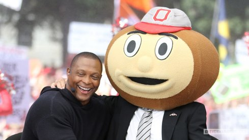 Eddie George, ESPN's guest picker, with Lee Corso on the set of College GameDay.