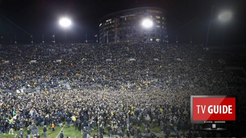 Nov 12, 2016; Iowa City, IA, USA; Fans storm the field after Iowa Hawkeyes place kicker Keith Duncan (not pictured) kicks the game winning field goal against the Michigan Wolverines at Kinnick Stadium. The Hawkeyes won 14-13. Mandatory Credit: Reese Strickland-USA TODAY Sports