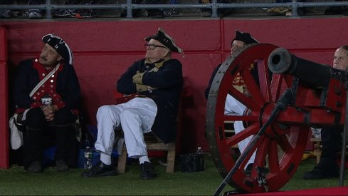 Rutgers cannon crew getting rowdy.