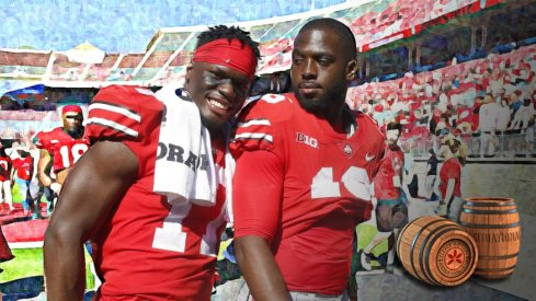 jerome baker and JT Barrett after the UNLV game, 2017