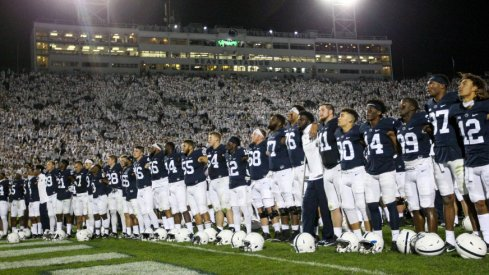Oct 21, 2017; University Park, PA, USA; Penn State Nittany Lions players sing the alma-mater following the competition of the game against the Michigan Wolverines at Beaver Stadium. Penn State defeated Michigan 42-13. Mandatory Credit: