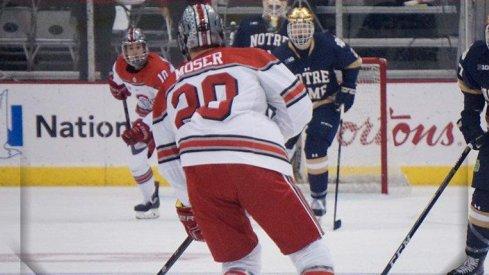 Buckeye defenseman Janik Moser scored for Ohio State against Notre Dame.