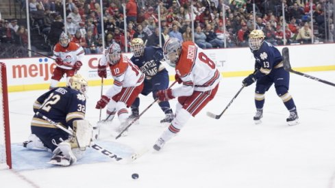 Ohio State and Notre Dame men's hockey engage in a Big Ten battle at the Schottenstein Center in Columbus, Ohio.