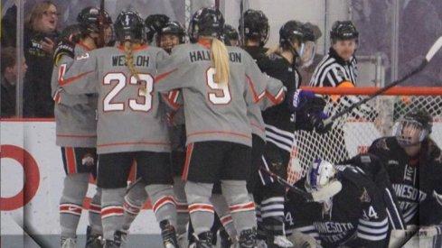 Ohio State women's hockey celebrates a goal against Minnesota State.