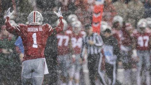 Johnnie Dixon in the rain at Ohio Stadium.