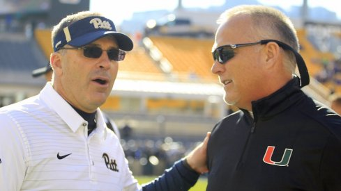 Pitt coach Pat Narduzzi (left) and Miami coach Mark Richt