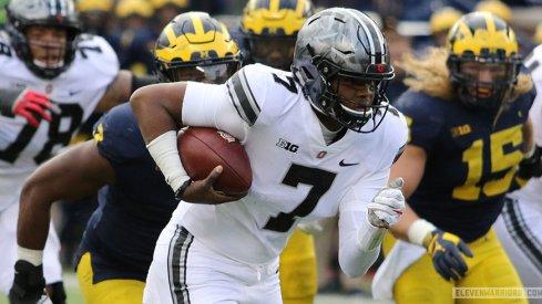 Dwayne Haskins rushes against Michigan