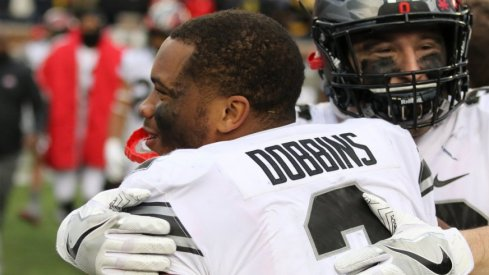 In his first Michigan game, J.K. Dobbins ran for 101 yards and a touchdown.