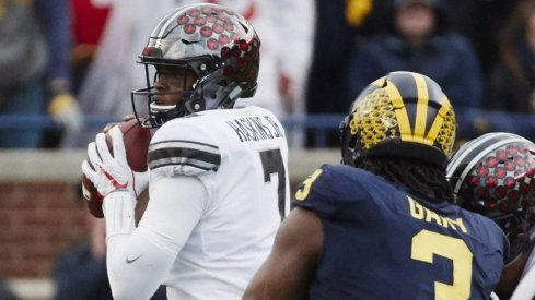 Backup quarterback Dwayne Haskins completed six of seven passes for 94 yards in relief of an injured J.T. Barrett.