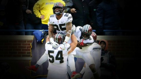 Nov 25, 2017; Ann Arbor, MI, USA; Ohio State Buckeyes running back Mike Weber (25) celebrates after his touchdown with offensive lineman Billy Price (54) and wide receiver Binjimen Victor (9) during the second half of Ohio State's 31-20 win over Michigan at Michigan Stadium. Mandatory Credit: Winslow Townson-USA TODAY Sports