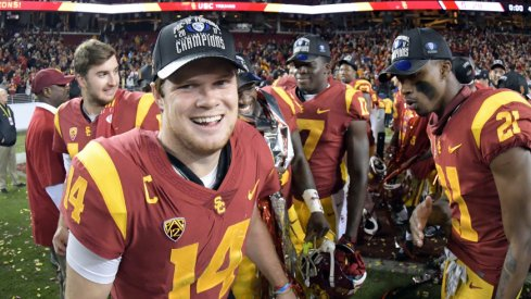 Dec 1, 2017; Santa Clara, CA, USA; Southern California Trojans quarterback Sam Darnold (14) celebrates after the Pac-12 Conference championship game against the Stanford Cardinal at Levi's Stadium. USC defeated Stanford 31-28 Mandatory Credit: Kirby Lee-USA TODAY Sports