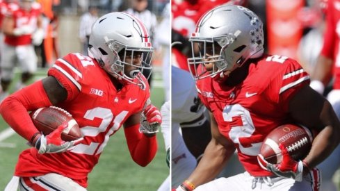 Parris Campbell and J.K. Dobbins each have over 1,000 all-purpose yards in 2017 with one game to play. (Dobbins photo: Joe Maiorana-USA TODAY Sports)