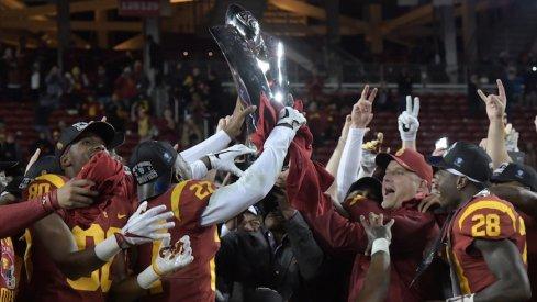 USC celebrates its 2017 Pac-12 championship.