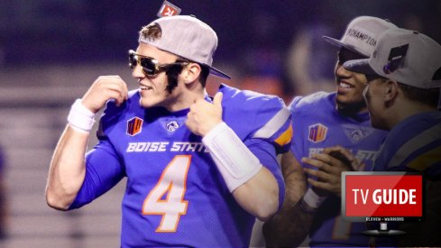 Dec 2, 2017; Boise, ID, USA; Boise State Broncos quarterback Brett Rypien (4) dons a pair of Elvis glasses after the Mountain West championship game against Fresno State Bulldogs at Albertsons Stadium. Boise State defeats Fresno State 17-14. Mandatory Credit: Brian Losness-USA TODAY Sports