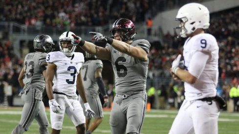 Sam Hubbard celebrates a play during Ohio State's 39-38 win over Penn State on Oct. 28.