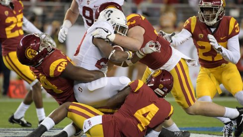 The Trojans' front six focuses primarily on stopping the run.