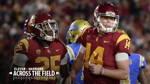 Ronald Jones (25), Sam Darnold (14) and the USC Trojans will face Ohio State in the Cotton Bowl on Friday.