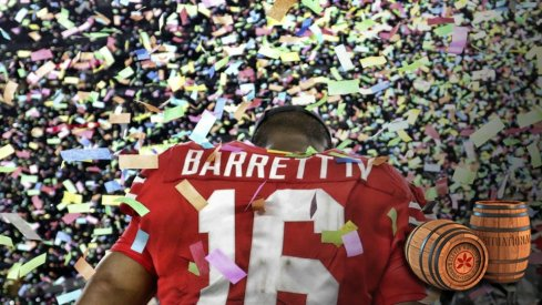 Dec 29, 2017; Arlington, TX, USA; Ohio State Buckeyes quarterback J.T. Barrett (16) celebrates after the game against the USC Trojans in the 2017 Cotton Bowl at AT&T Stadium. Mandatory Credit: Kevin Jairaj-USA TODAY Sports