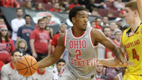 Ohio State basketball player Musa Jallow drives the ball in a win against Maryland.