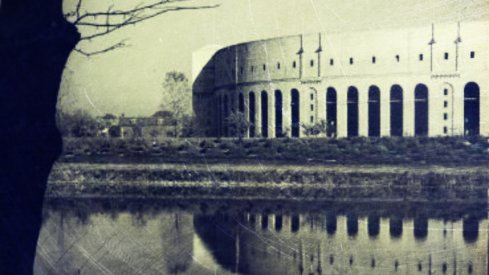 ohio stadium, on the banks of the olentangy