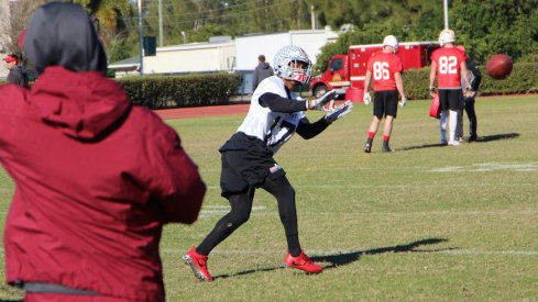Damon Webb catches a throw during defensive back drills at East-West Shrine Game practice.