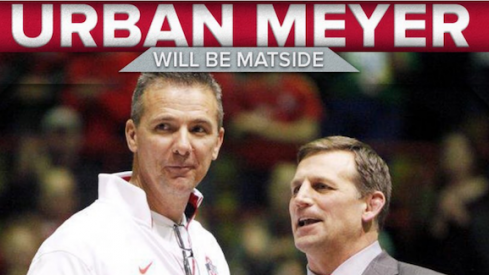 Urban Meyer will be matside for Sunday's match against Iowa.