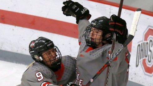 Buckeye freshman Liz Schepers celebrates a goal against Minnesota with Liv Halvorson.