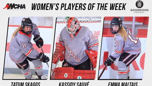 Ohio State's Tatum Skaggs, Kassidy Sauve, and Emma Maltais make it a Buckeye sweep of the weekly WCHA awards.