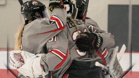 Amanda Zeglen's Buckeye teammates congratulate her on a win over Minnesota State.