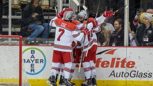 Wyatt Ege and the Buckeyes celebrate a goal against the Michigan State Spartans.