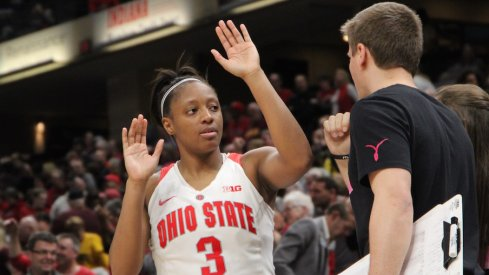 Kelsey Mitchell celebrate the win.