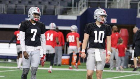 Ohio State quarterbacks Dwayne Haskins and Joe Burrow
