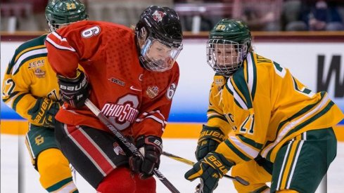 Ohio State defender Lauren Boyle skates against Clarkson in an NCAA Semifinal matchup.