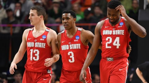 Mar 17, 2018; Boise, ID, USA; Ohio State Buckeyes guard Andrew Dakich (13), guard C.J. Jackson (3), and forward Andre Wesson (24) react during the second half against the Gonzaga Bulldogs during the second round of the 2018 NCAA Tournament at Taco Bell Arena. Mandatory Credit: Kyle Terada-USA TODAY Sports